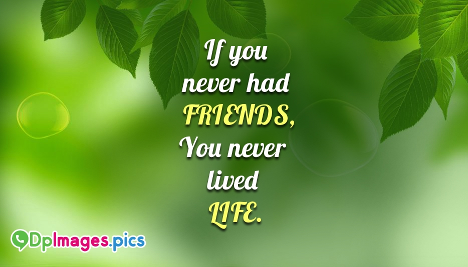 If You Never Had Friends, You Never Lived Life @ DpImages.Pics