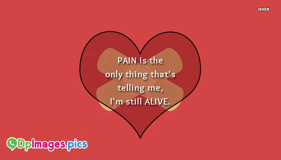 Pain Is The Only Thing Thats Telling Me, Im Still Alive